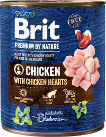 Brit Premium by Nature Chicken with Chicken Hearts Karma z kurczakiem dla psa 800g