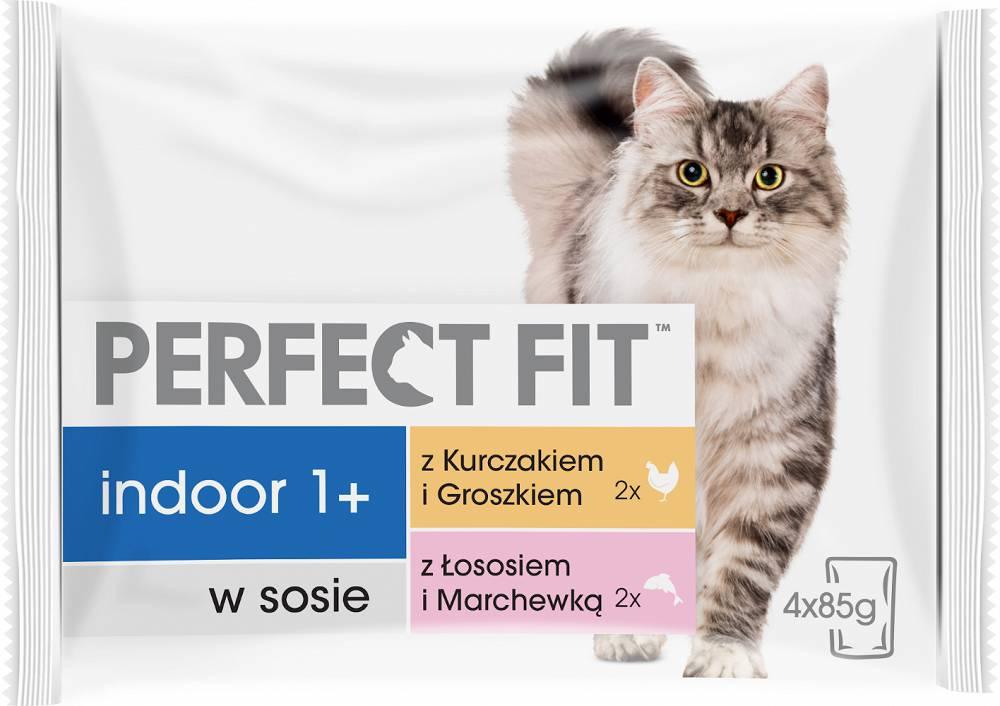 Perfect Fit Indoor 1+ Karma z łososiem i kurczakiem w sosie dla kota 4x85g